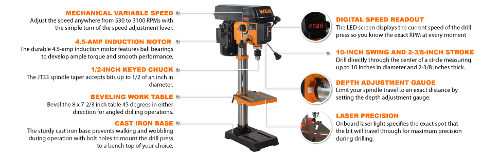 WEN 4212 Drill Press features