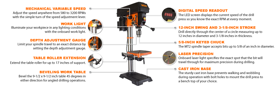 WEN 4214 Drill Press features