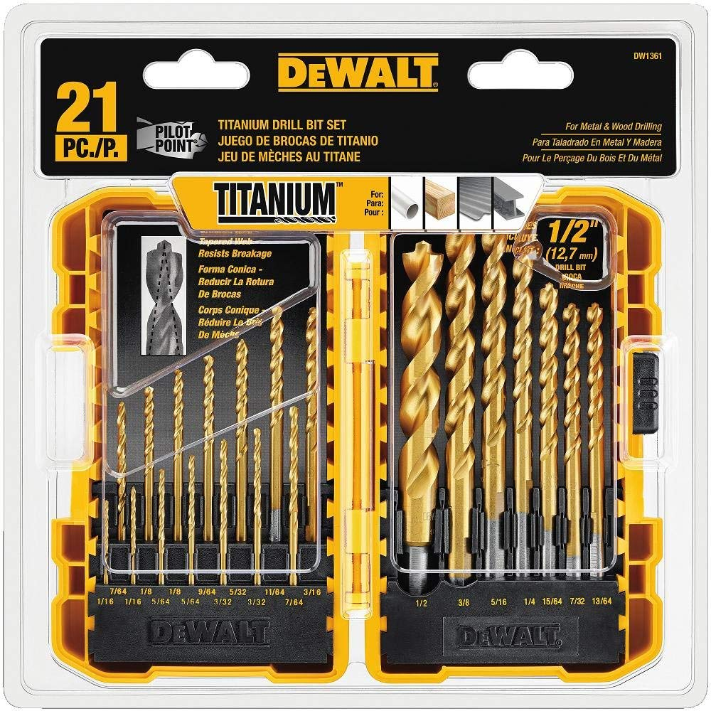 DEWALT Titanium Pilot Point Drill Bit Set