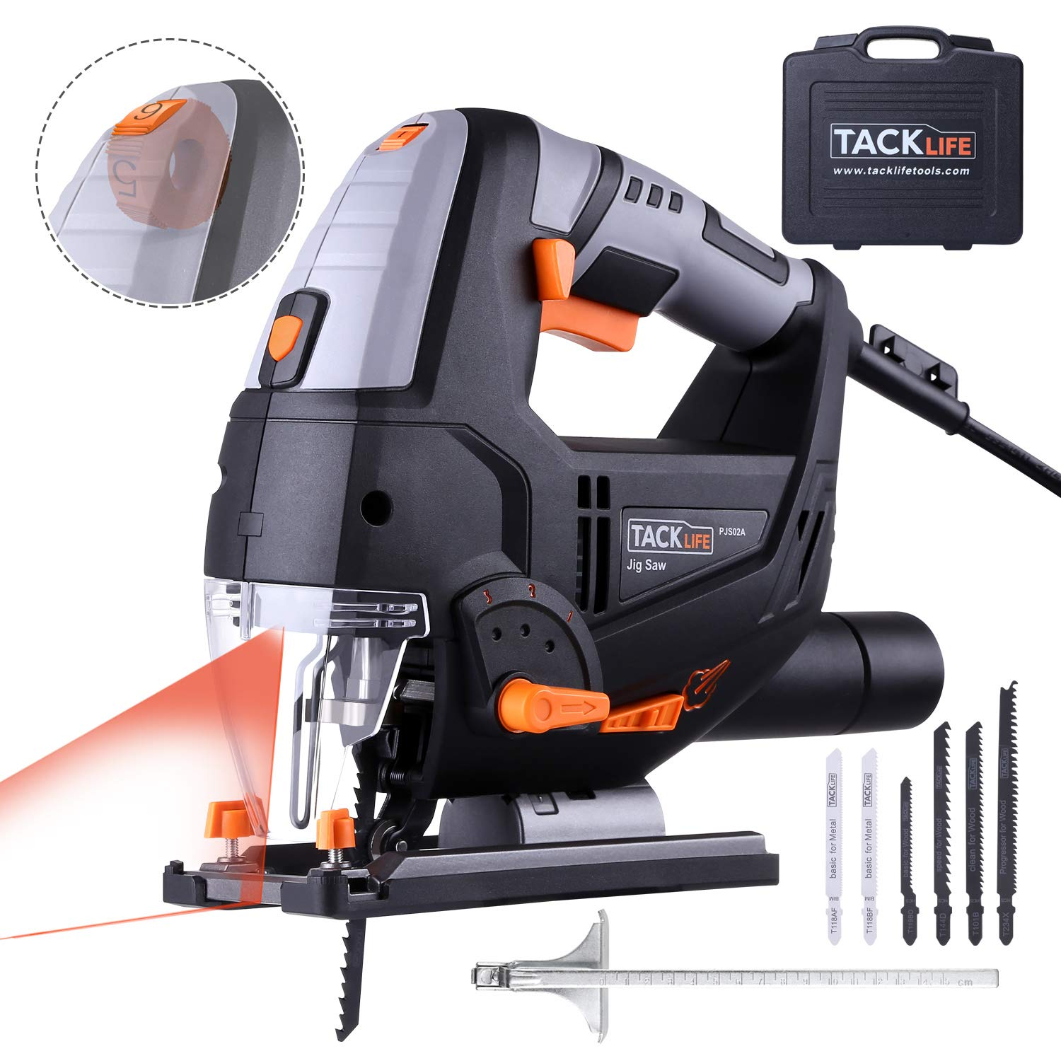 TACKLIFE Advanced 6.7 Amp 3000 SPM Jigsaw with Laser & LED, 6 Blades, 10feet (3M) Cord Length, Pure Copper Motor, Max Bevel Cutting Angle