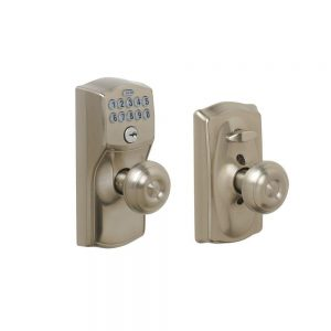 Schlage FE595 CAM 619 GEO Camelot Keypad Entry with Flex Lock and Georgian Style Knobs