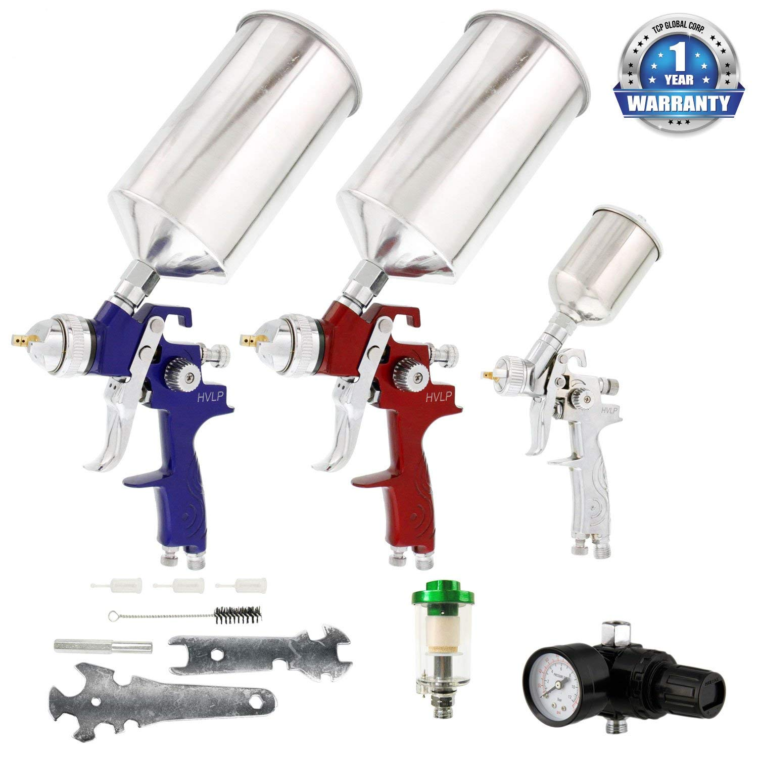 TCP Global Brand HVLP Spray Gun Set